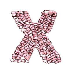 x lettera rubino rosso rosa gemme 3d, sfondo bianco