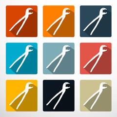 Pliers - Pincers Flat Design Icons Set