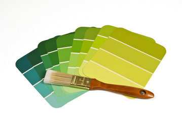 Paint Brush With Green Paint Samples