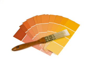 Paint Brush With Warm Tone Paint Samples
