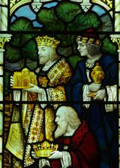 Three kings visiting Jesus