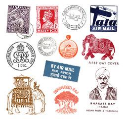 Briefmarken und Poststempel aus Indien