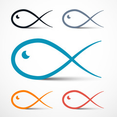 Fish Outline Simple Symbols Set