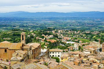 View of Val d'Orcia valley. Montepulciano