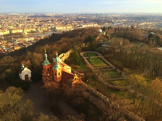 View from Petrin lookout tower in Prague
