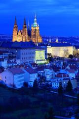 Night winter Prague gothic Castle, Czech Republic