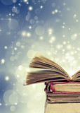 Fototapety Christmas background withopen magical book