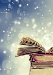 Christmas background withopen magical book