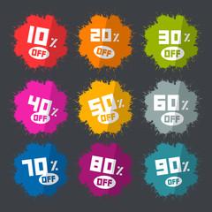 Splash Vector Discount Labels Set on Dark Background