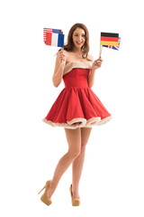 Sexy girl wearing Santa Claus clothes holding national flags