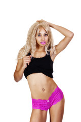 Skinny Light Skinned Black Woman Pink Panties