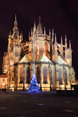 Night St. Vitus' Cathedral on Prague Castle with Christmas Tree