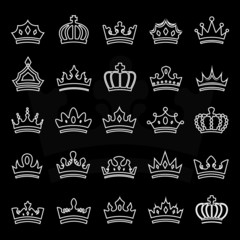Crown Icons Set - Isolated On Black Background
