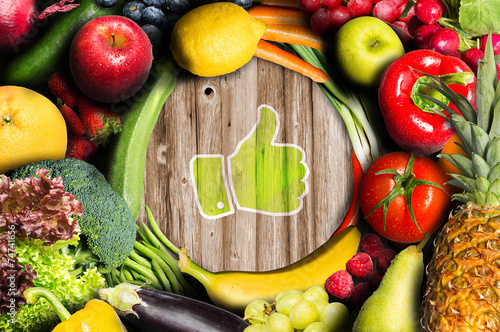 Thumbs up for fruit and vegetables - 74741656