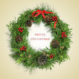 text merry christmas and natural christmas wreath, with a retro