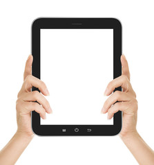 female hand using tablet pc with white screen, isolated