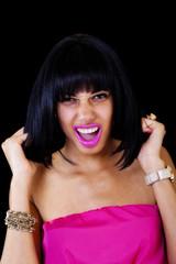 Skinny Light Skinned Black Woman Pulling Hair