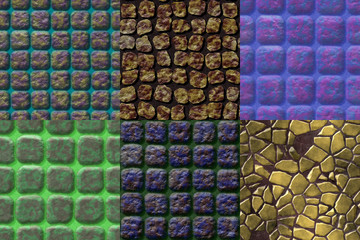 Set of pavement seamless generated textures