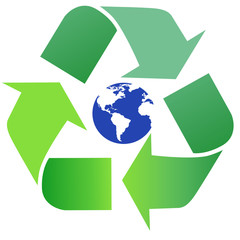 Green, shiny recycling symbol. White background