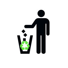 Recycling symbol. White background