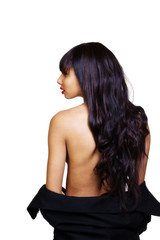 Topless Light Skinned Black Woman From Back
