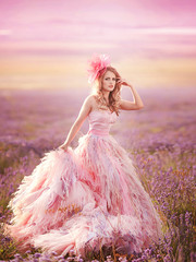 beautiful magic bride in lavender field