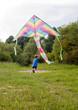 Boy play with kite