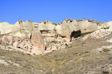 Amazing geological features in Cappadocia, Turkey