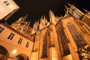 Detail of  night gothic St. Vitus' Cathedral on Prague Castle