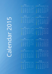 2015 calendar with bright blue vector background