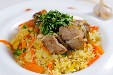 Savory saffron rice with meat and vegetables