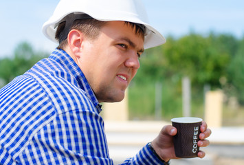 Builder taking a coffee break