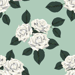Classic vintage seamless pattern with white roses