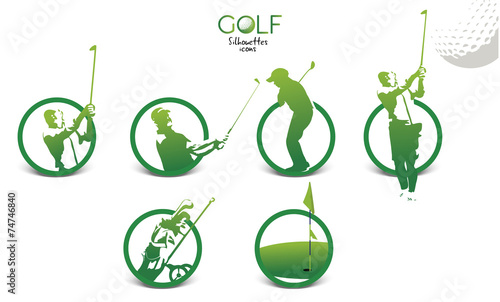 Fototapeta Golf player silhouettes