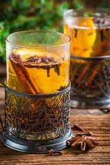 Orange tea with cinnamon and cloves