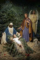 Christmas Nativity Scene with Pine Tree