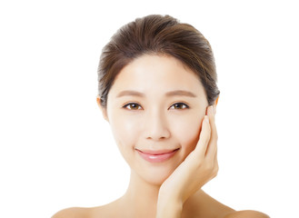 beautiful young  asian woman face isolated on white