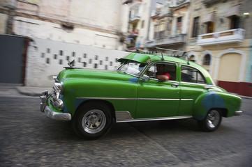 Vintage Green American Car Taxi Havana Cuba