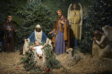 Christmas Nativity Scene with Pine Tree
