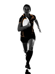 rugby woman player silhouette