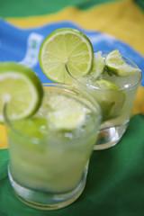 Two Fresh Lime Caipirinhas Brazilian Flag