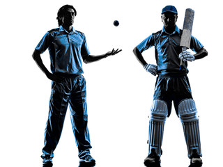 two Cricket players  silhouette
