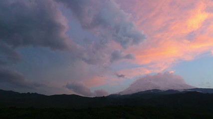 Evening clouds in mountains