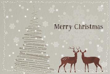 クリスマスカード 茶