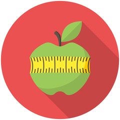 Green apple with measuring tape icon