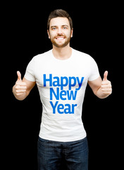 "Happy model on white tshirt showing the message ""Happy New Year"""