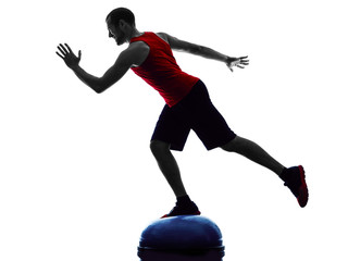 man bosu balance trainer  exercises fitness silhouette