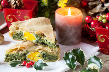 Savory Pie With Christmas Decorations