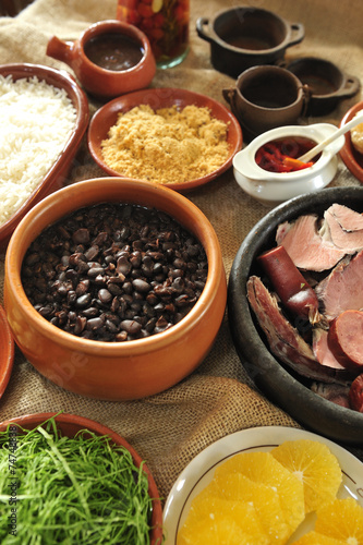 Tuinposter Koken feijoada, black beans and meat stew, Brazilian cuisine