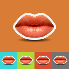 Abstract Lips low polygonal vector